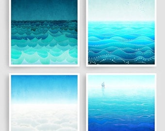 30% OFF SALE: Any FOUR Prints - Save 30 Percent,Giclee Art prints Home decor Living room art Wall art Gift ideas Turquoise Blue
