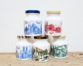 SET OF 5 Vintage Milk Glass Storage Jars / Storage Jars With Lids / Milk  Glass