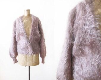 Vintage Mohair Cardigan - Mohair Sweater - Fuzzy Cardigan Sweater - 80s Sweater - Taupe Neutral Sweater - Grunge Cardigan - 90s Grunge