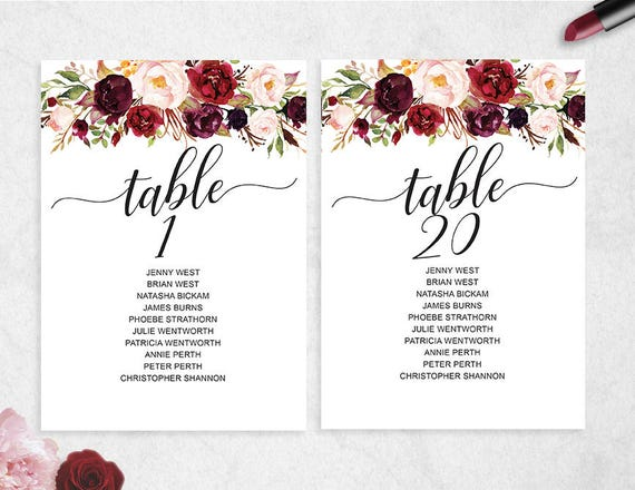 Table seating chart template 1 20 instant download for Bridal shower seating chart template