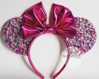 Pink Mouse Ears // Bedazzled Mouse Ears // READY to SHIP // by Born Tutu Rock