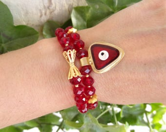 Set of Two Bracelets,Ruby Red Crystal Beads Bracelet,Evil Eye Bracelet,Charm Bracelet,Elegance Bracelet,Gift for Her,Christmas Gifts