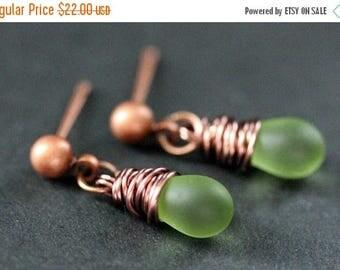 BACK to SCHOOL SALE Copper Earrings - Frosted Green Teardrop Earrings. Dangle Earrings. Stud Post Earrings. Handmade Jewelry.
