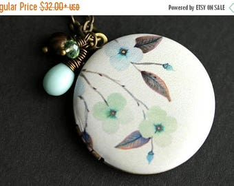 BACK to SCHOOL SALE Flower Locket Necklace. Sage Green and Pale Blue Necklace with Aqua Blue Teardrop, Green Crystal, Brown Fresh Water Pear