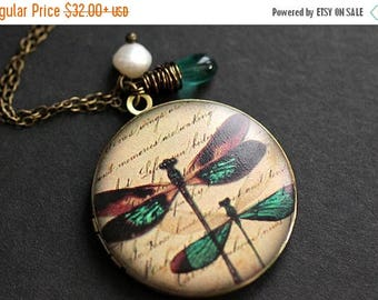 BACK to SCHOOL SALE Dragonfly Necklace. Dragonfly Locket Necklace with Teal Teardrop and Fresh Water Pearl. Handmade Jewelry.