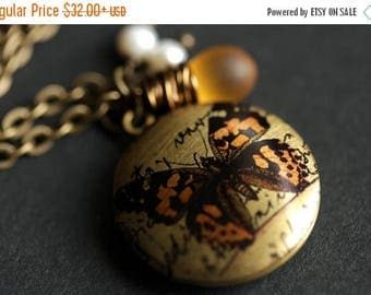 BACK to SCHOOL SALE Orange Butterfly Locket Necklace. Amber Butterfly Necklace with Frosted Amber Teardrop and Fresh Water Pearl. Handmade J