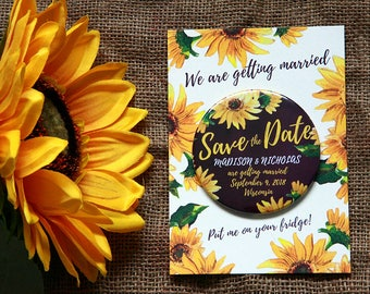 SUNFLOWER Save the Date 77mm magnets with backing card x 40