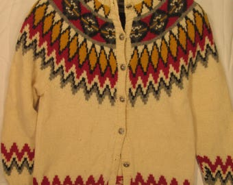 vintage, Marsh Landing hand knit wool multi colored sunburst cardigan womens sweater size L