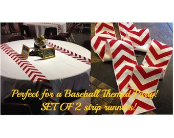 """Baseball Party Themed Red Chevron Modern Wedding Table Runner Set of 2 4"""" wide by your choice of length Chevron - Wedding or Party runners"""
