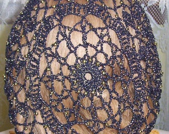 Simplicity Snood Pattern - Beaded Every Row in Metallic Combination thread.