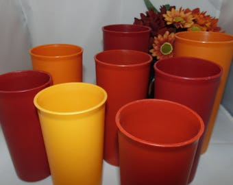 8 Vintage Tupperware cup Tumblers Harvest Colors 3 sizes