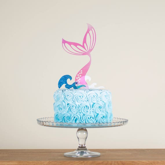 Mermaid Tail And Waves Birthday Girl Party Cake Topper Gift Set
