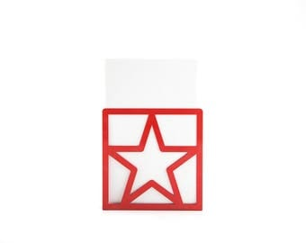 A pair of metal bookends Red Star // unique design book holders for modern home // housewarming gift // FREE SHIPPING WORLDWIDE