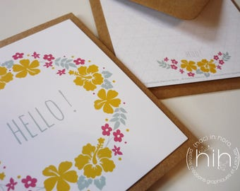 flowers crown post card hello, collection folia