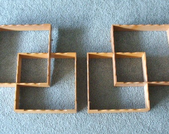 Two Pair Vintage Maple Shadow Boxes, Fingerjointed and Scalloped