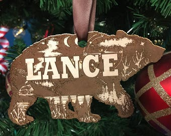 Laser Engraved Bear Ornament- Personalize it