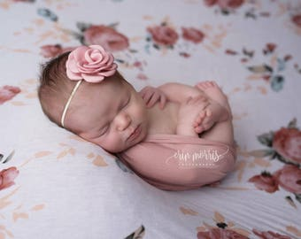 Newborn headband, baby headband, dusty rose headband, mauve headband, newborn photo prop, baby photo prop, flower headband, photo prop, baby