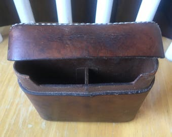 1960s Peal & Co Hand Sewn Brown Leather Cigarette Case Made in England for Brooks Brothers