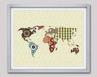 World Map Wall Art, World Map Poster, World Map Decor, World Map Painting, World Map Design, World Map Drawing, Living Room Decor