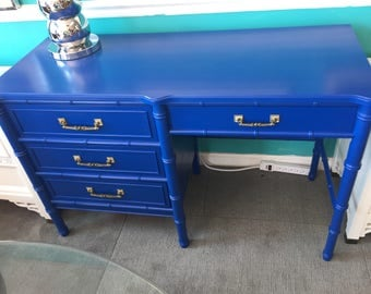 Brilliant Blue Faux Bamboo Desk