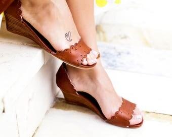 SALE. Sz. 6.5. DREAMLAND. Leather wedges / women shoes / leather sandals / wedge sandals / wedge shoes.