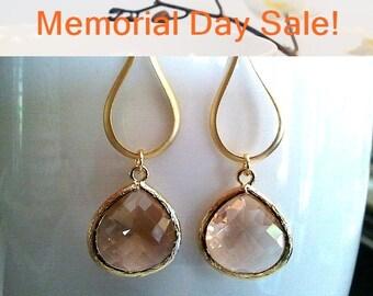 Gold Water Drop with Champagne Earrings, Peach Earrings,Drop, Dangle, Wedding Earrings, Bridal Jewelry, Bridesmaid Gift, Cristmas Gift