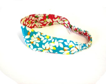 headband red and turquoise leaves  , reversible women's hair band