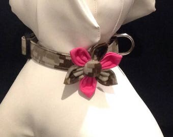 Size XS, S, M, L, XL - Military Dog Collar Flower Sets, Availlable in Marine Corps, Air Force and Army