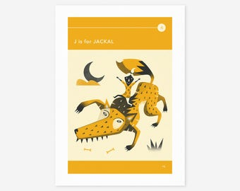 J is for JACKAL (Giclée Fine Art Print/Photo Print/Poster Print) by Jazzberry Blue