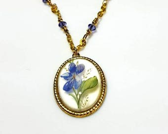 purple crystal flower pendant gold necklace unique floral nature jewelry beaded bloom garden necklace gifts for her necklaces for women