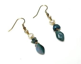 Teal White Freshwater Pearl Leaf Earrings Hypoallergenic Earrings Nickel Free Earrings Czech Blue Leaves Earrings Beaded Nature Jewelry