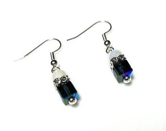 Blue Swarovski Crystal Cube White Clear Crystal Earrings Hypoallergenic Earrings Nickel Free Earrings Dangle Drop Earrings Beaded Jewelry