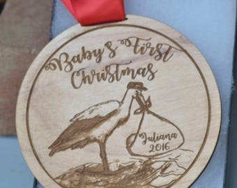 Baby's First christmas ornament  personalized stork