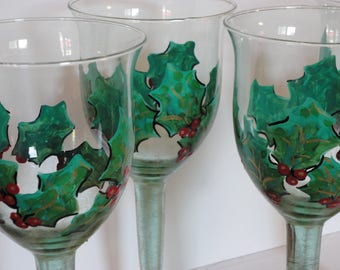 Festive Holiday Wine Glass or Candle Set of Four