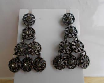 SALE POST/STUD Black Dangle Earrings with Black Rhinestones