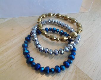 3 Stretch Bracelet in Silver, Gold and Metallic Blue Crystal Beads