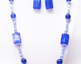 Blue Flat/Round Glass Bead Necklace & Earrings Set