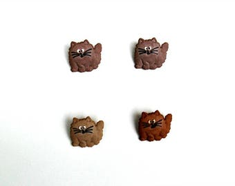 Set of 4 fat cat shank buttons