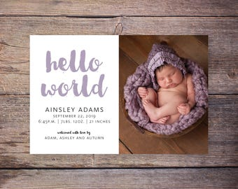 Printable Hello World Birth Announcement, Script Baby Announcement, Introducing New Baby Announcement, Baby Stats, Printable – Ainsley