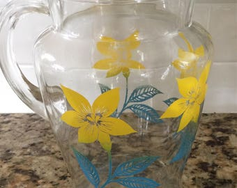 Vintage Glass Pitcher with Yellow and Turquoise Flowers 2 Qt