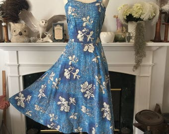 50s Blue Hawaiian cotton Sundress