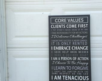 Core Valiues, Company Mission Statement on a Gallery Wrapped Canvas