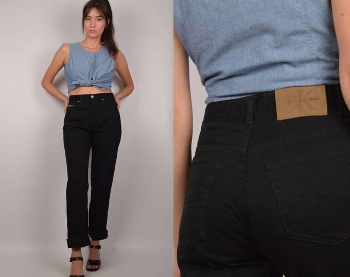"""Calvin Klein Black Jeans - high waist vintage denim, 28""""W"""