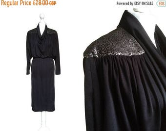On Sale 80's Dress - 1980's Vintage Dress - Black And Silver Metallic Stretch Dress - Batwing Sleeves - Cowl Neck Dress