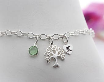 Sterling silver Tree of life Bracelet. Personalized Bracelet, Custom Initial, Birthstone. Strong chain.  Trinity Tree Bracelet. Wing, Dog