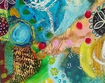 Original, abstrct acrylic painting, garden ,contemporary art, colourful