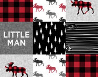 Diaper Stacker in Little Man Moose Patchwork