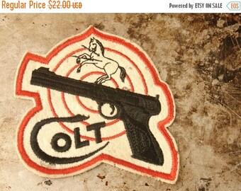 ON SALE vintage 40's colt 45 pistol gun embroidered patch, jacket sweater, horse