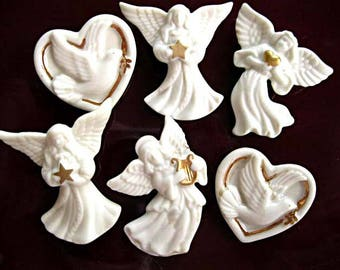 Lenox Angels Hearts Brooch Lot of Six, Porcelain Angels with Harp, Star, Peace Dove Heart Brooch, Easter Gift for Girl, Party Favor Gifts