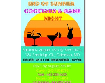 """End of Summer Party Invitation   4x6"""" or 5x7""""   Summer   Adults   Party   Lake   Beach   Pool   BBQ   Back to School   August   Printable"""